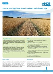 Pre-harvest glyphosate use in cereals and oilseed rape